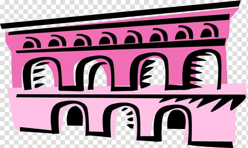 Pink Background, Pont Du Gard, Ancient Rome, Roman Aqueduct.