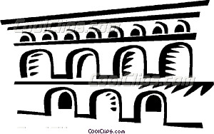 Roman Aqueducts and Walls Vector Clip art.