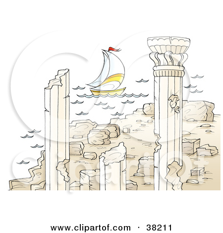 Clipart Illustration of a Sailboat Near Ancient Architectural.