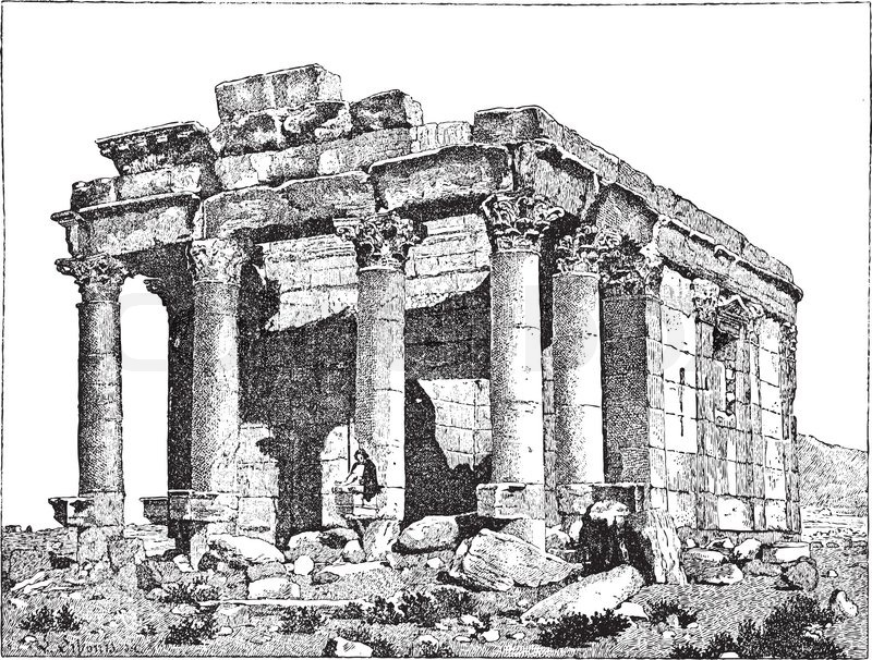 Temple of Diocletian, Palmyra, Syria, vintage engraving.