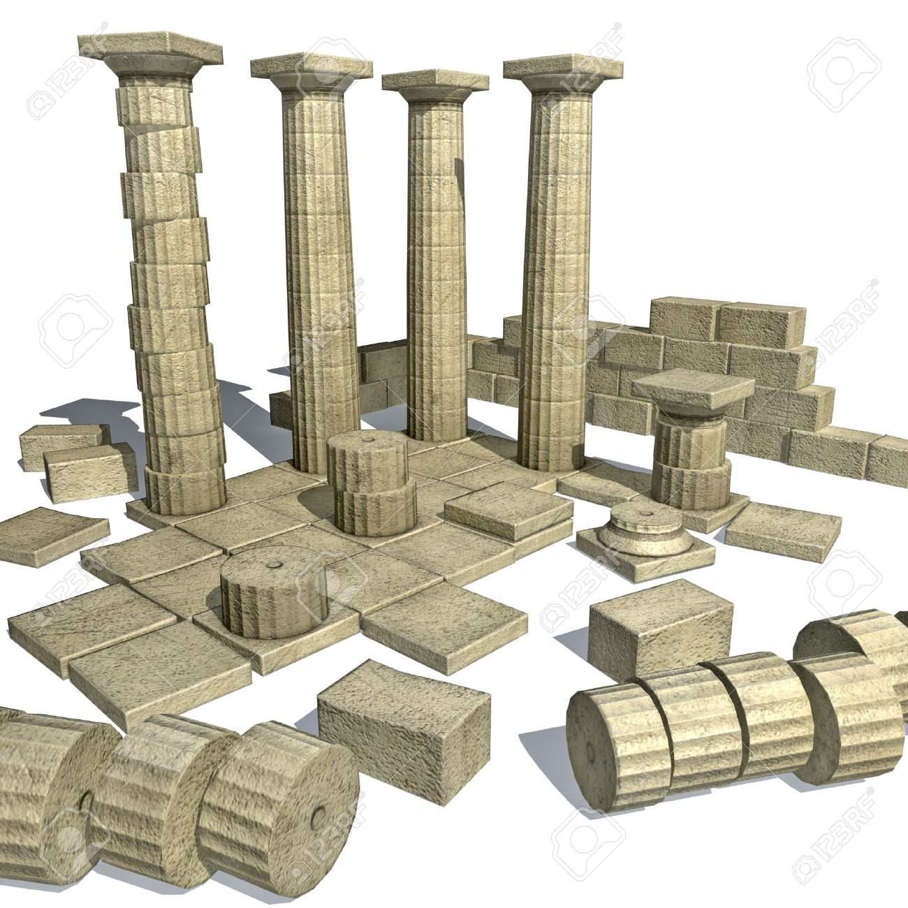 3d Render Of Greek Ruins With Parthenon Like Columns Stock Photo.