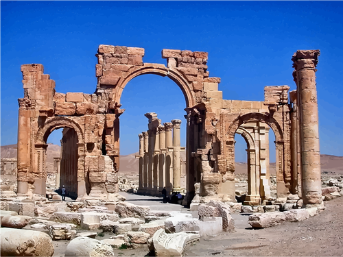Hadrian Gate Palmyra vector image.