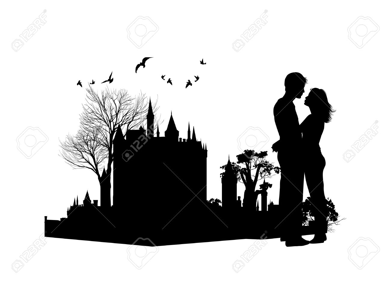 Couple In Love Against The Backdrop Of An Ancient Castle Royalty.