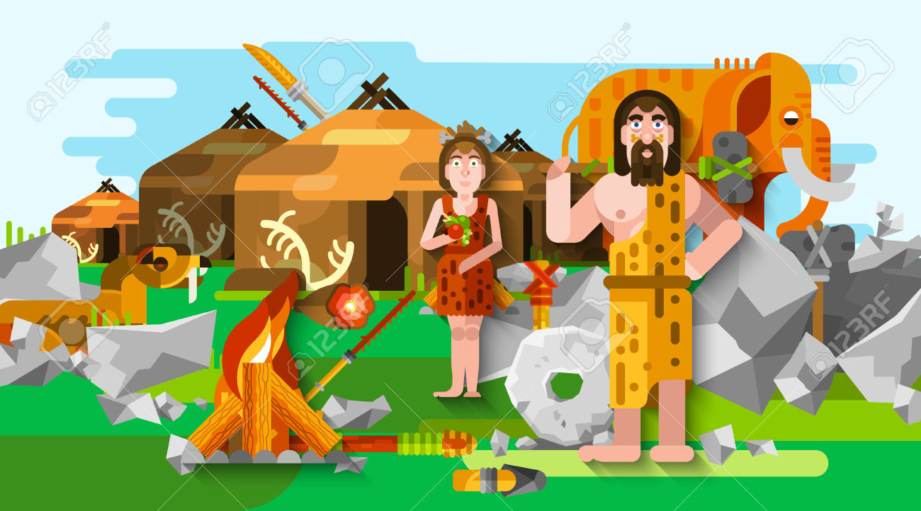 Prehistoric Stone Age Caveman Composition In Cartoon Style With.