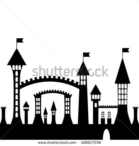 Isolated Vector Ancient Gothic Castle Black Stock Vector 488617036.