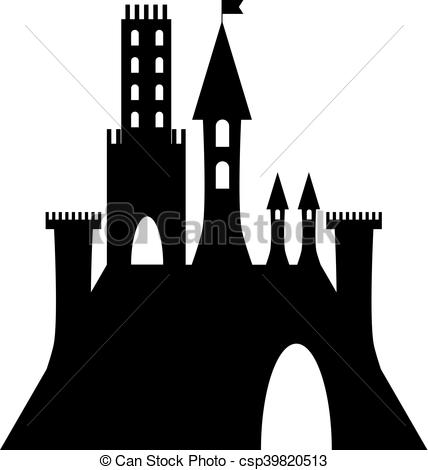 Vector Clip Art of isolated vector ancient gothic castle black.