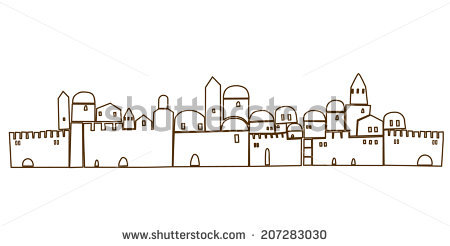 Old City Middle East Ancient Stylization Stock Vector 178113479.