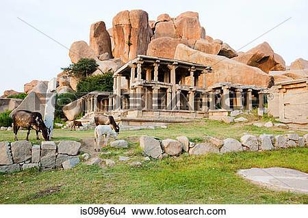 Stock Photo of Ancient ruins, Sule bazaar, Hampi, Karnataka, India.
