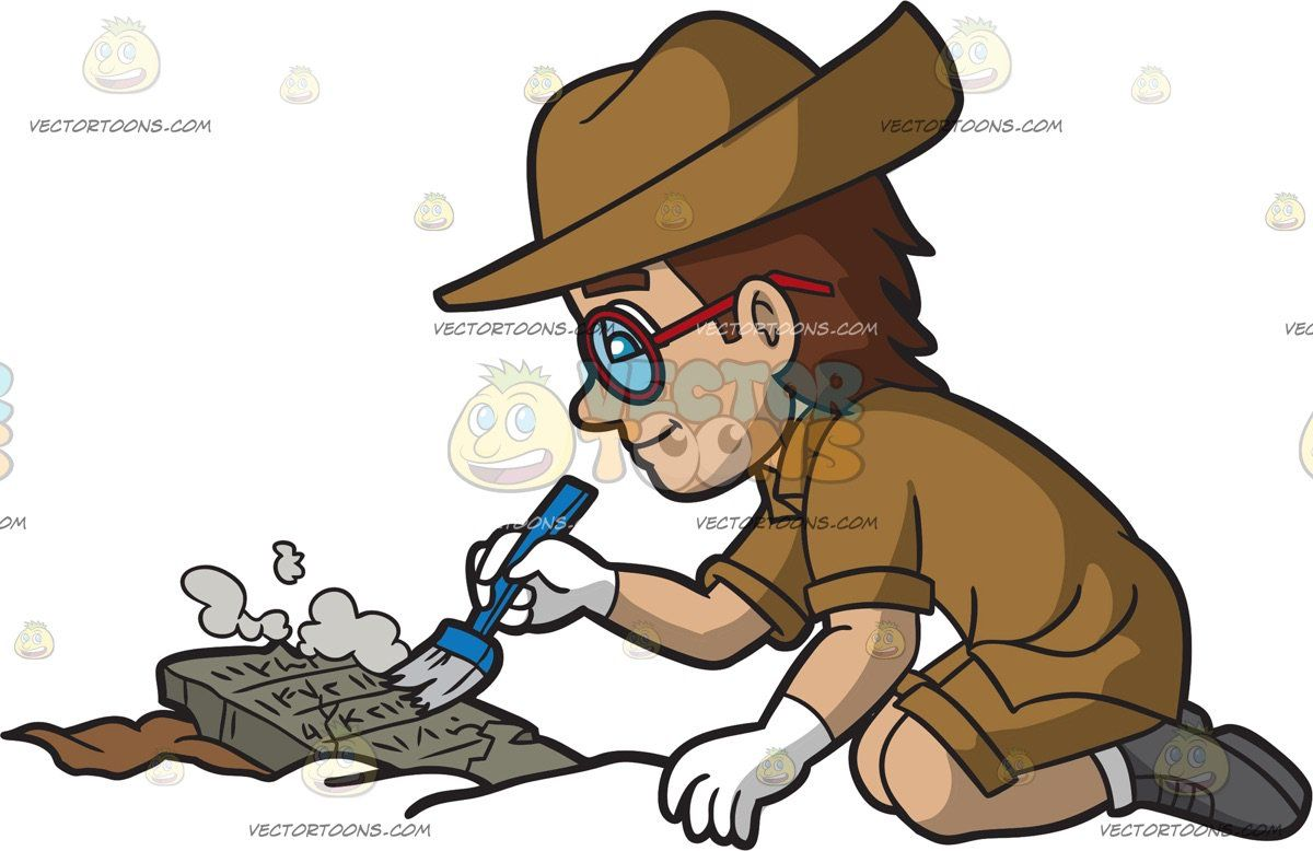 A Male Archaeologist Dusting Off An Ancient Tablet Scripture.