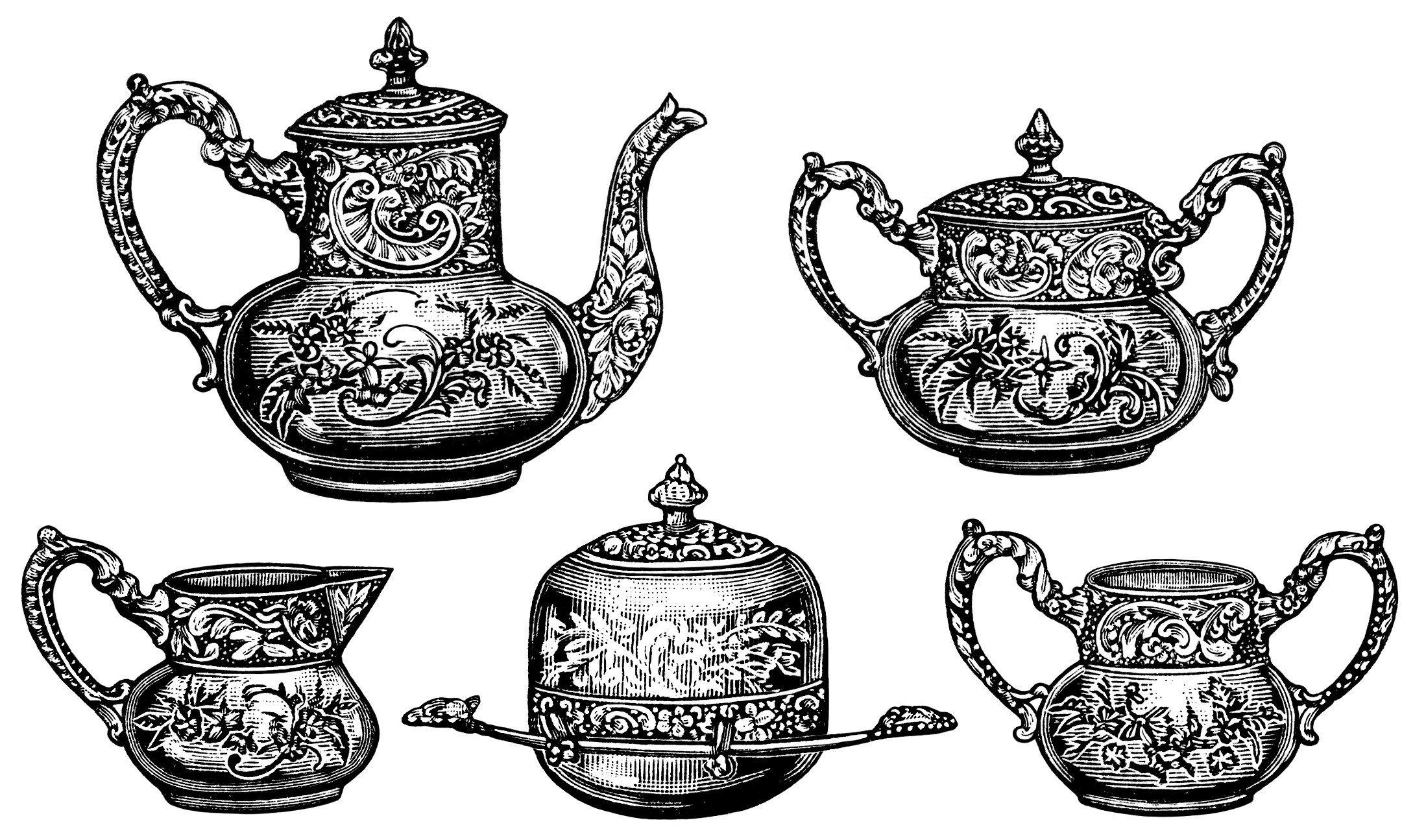 Victorian tea set, antique teapot, vintage tea clip art.