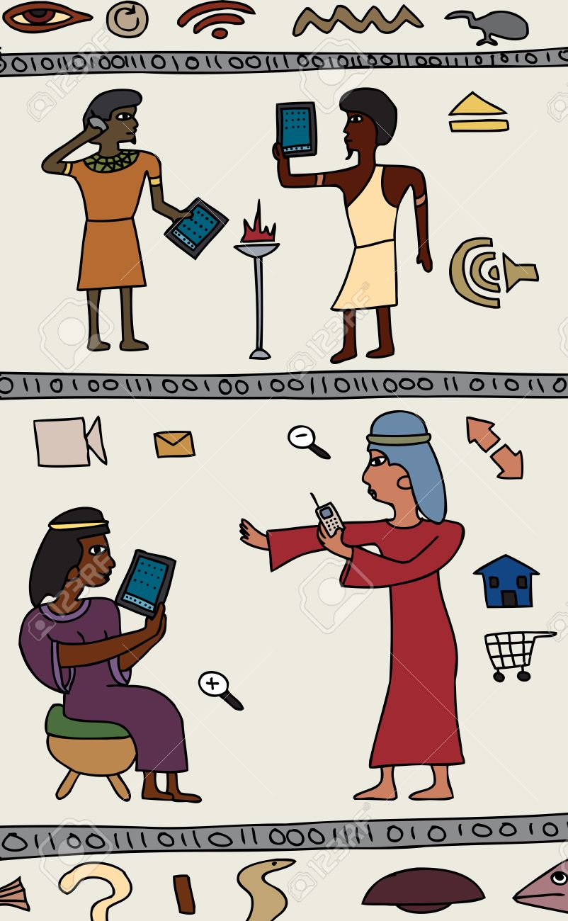 Drawings Of Ancient Egyptians With Modern Technology Royalty Free.