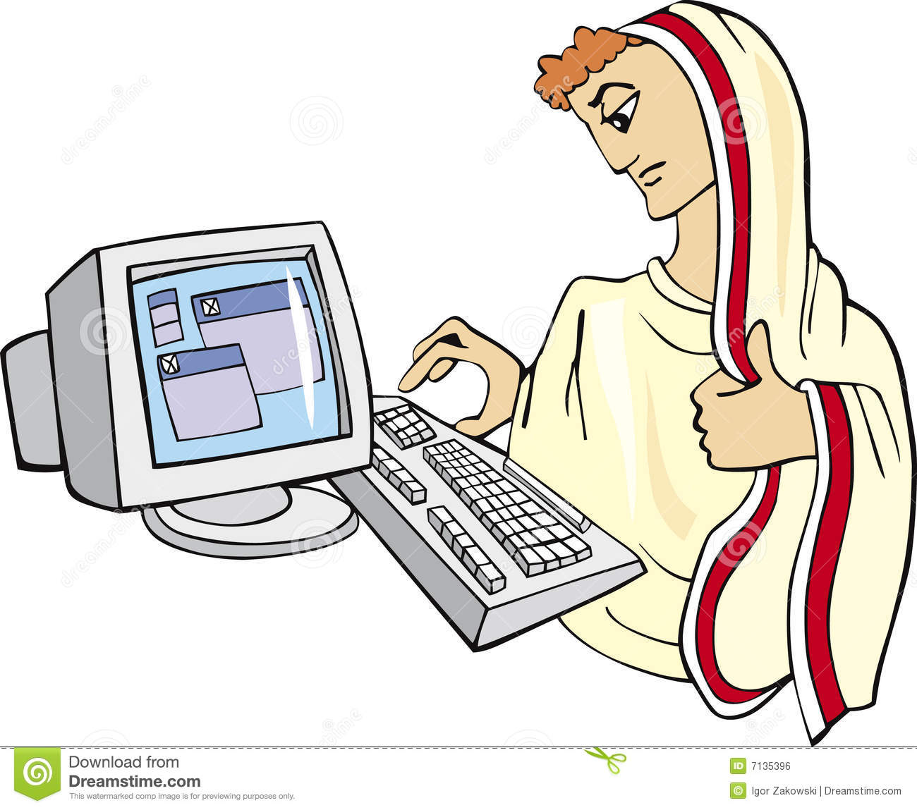 Ancient Man And Computer Royalty Free Stock Image.