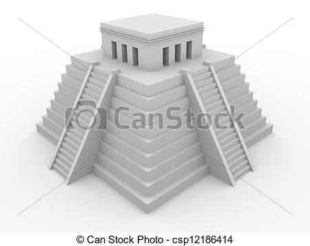 Clipart of Aztec temple.