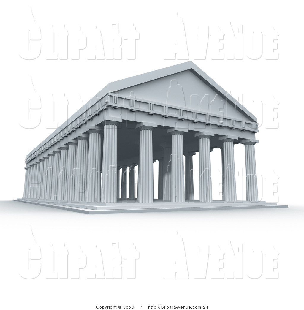Avenue Clipart of an Ancient 3d Roman Greek Temple with Columns by.