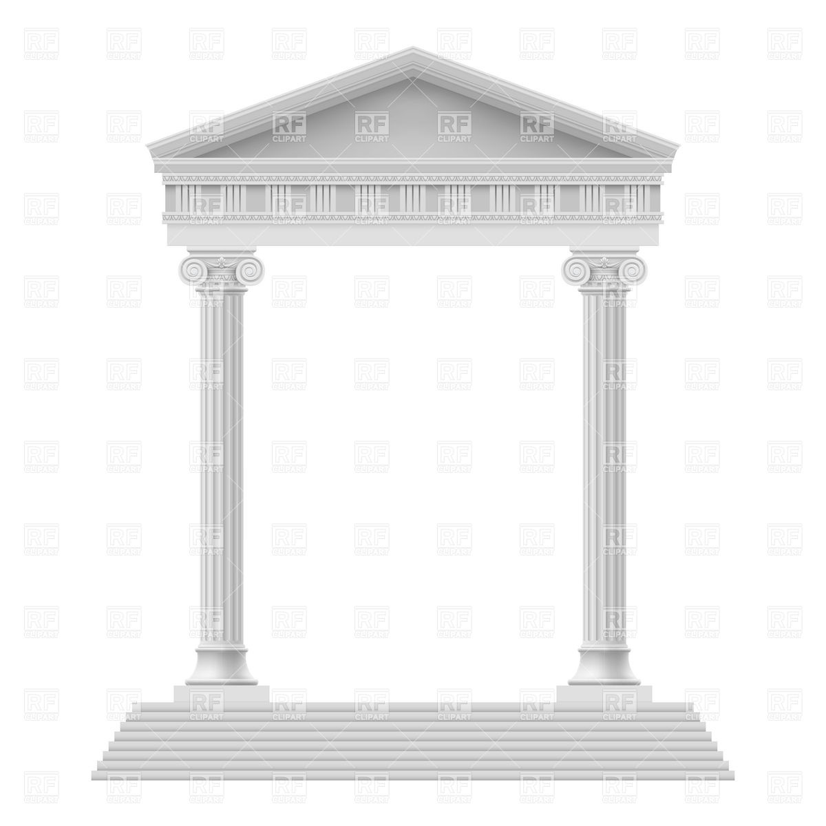 Portico an ancient temple with colonnade Vector Image #6991.