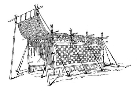 Antique illustration of ancient Jewish tent Clipart Image.