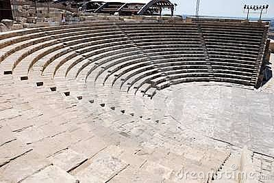 Stone Seats In Greek Ancient Theatre Royalty Free Stock Photo.