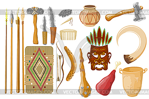 Ancient tools set . Hunting and mili.
