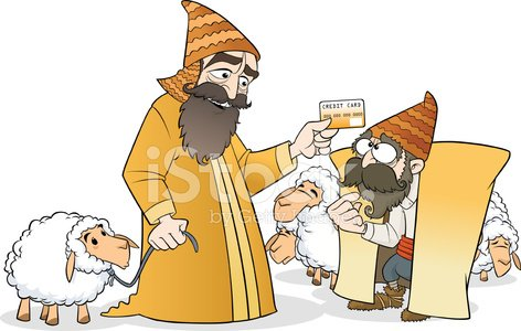 Ancient trade with credit card Clipart Image.