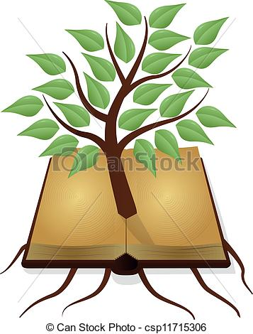 Vector Clipart of tree book.