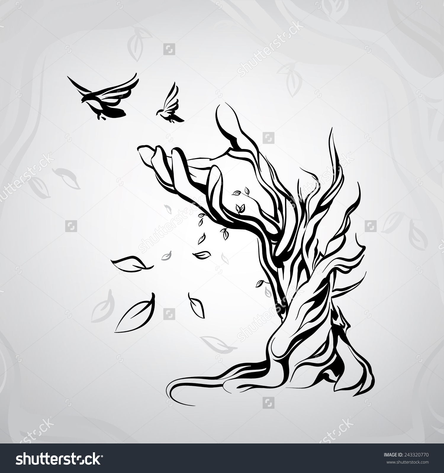 Ancient Tree Form Hand Stock Vector 243320770.