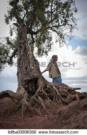 "Stock Images of ""Girl in front of an ancient trees, Lalibela."