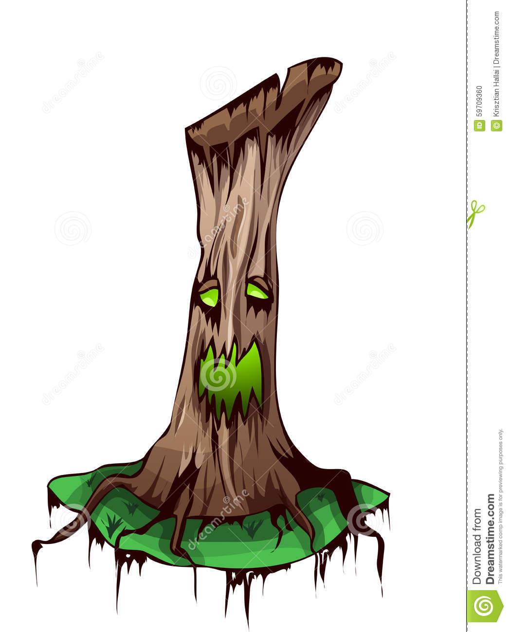 Cartoon Ancient Tree Vector Illustration. Stock Illustration.