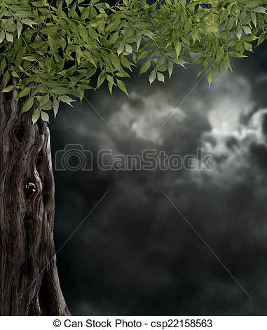 Stock Illustration of Fabulous night scenery, ancient trees, the.