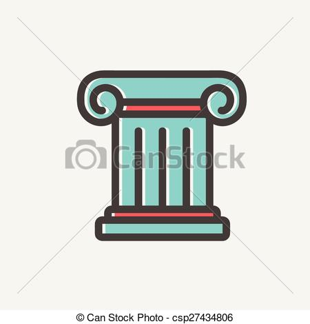 Vector Clipart of Ancient wall thin line icon.