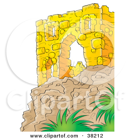 Clipart Illustration of a Wall Of Ancient Ruins On Top Of A Cliff.