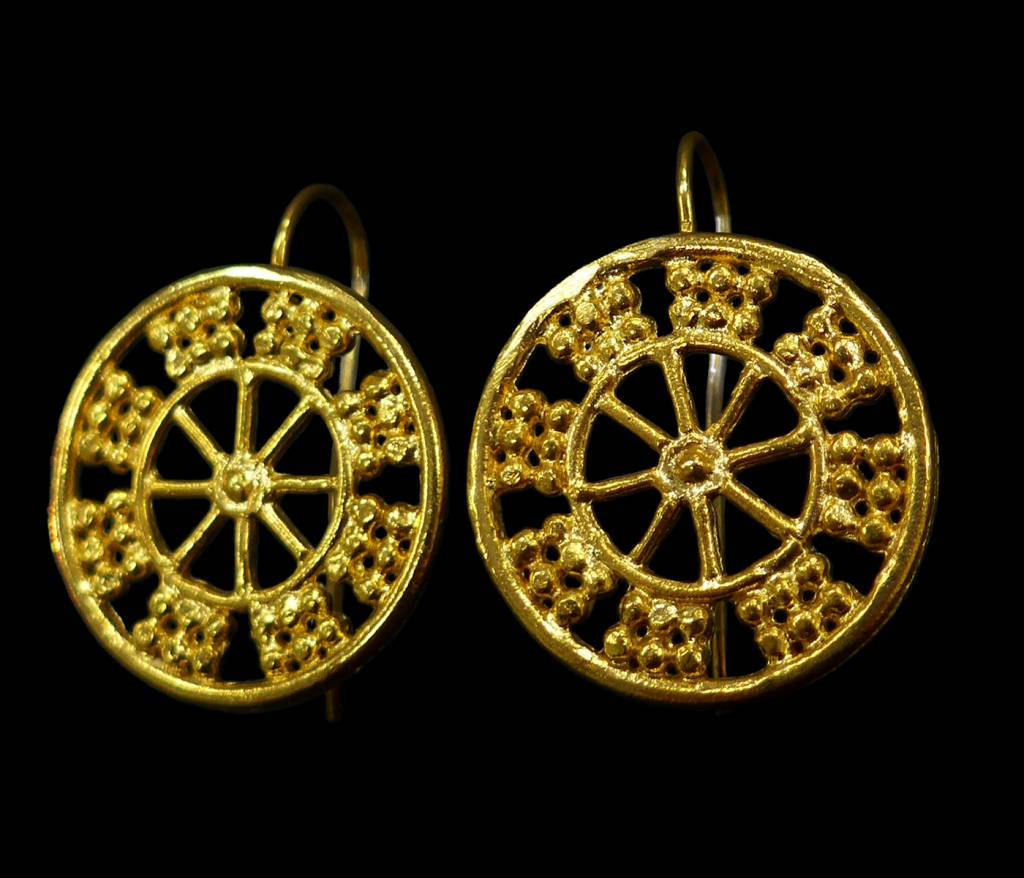 WHEEL OF FORTUNE ASSYRIAN EARRINGS.