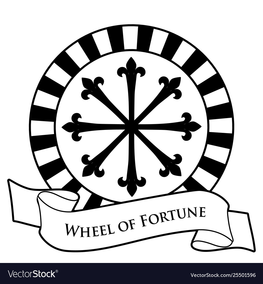 Tarot card concept wheel fortune and text.