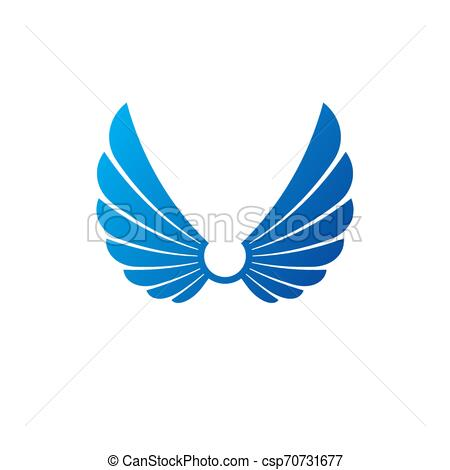 Ancient Symbolic Wings emblem. Heraldic vector design element. Retro style  label, heraldry logo..