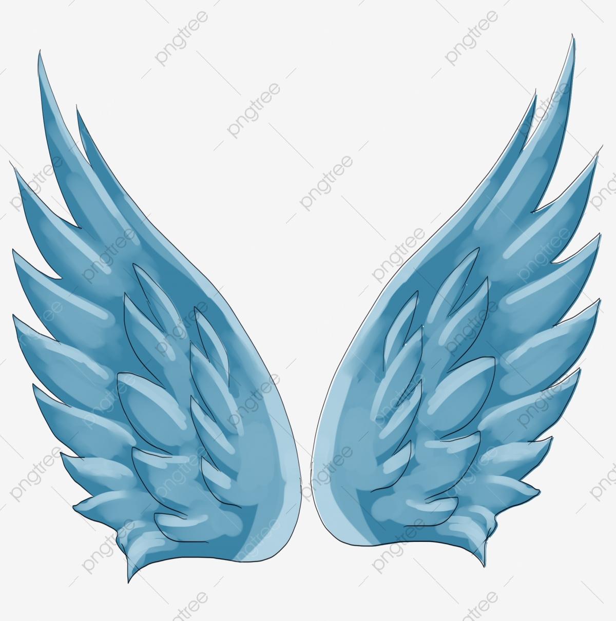 Blue Wings Flying Wings Beautiful Wings Hand Drawn Wings.
