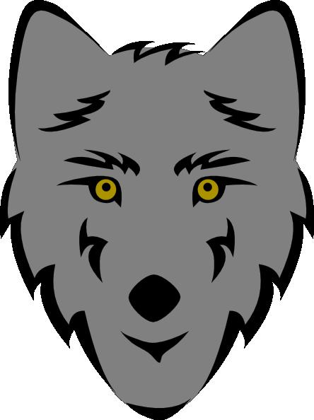 Wolf Head Stylized clip art.