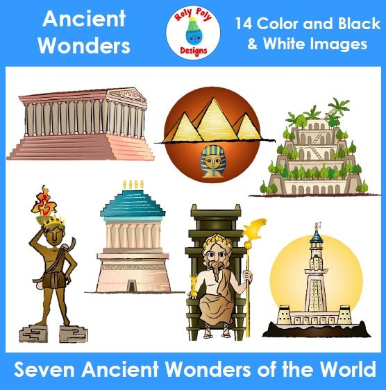 Ancient Wonders of the World Clip Art.