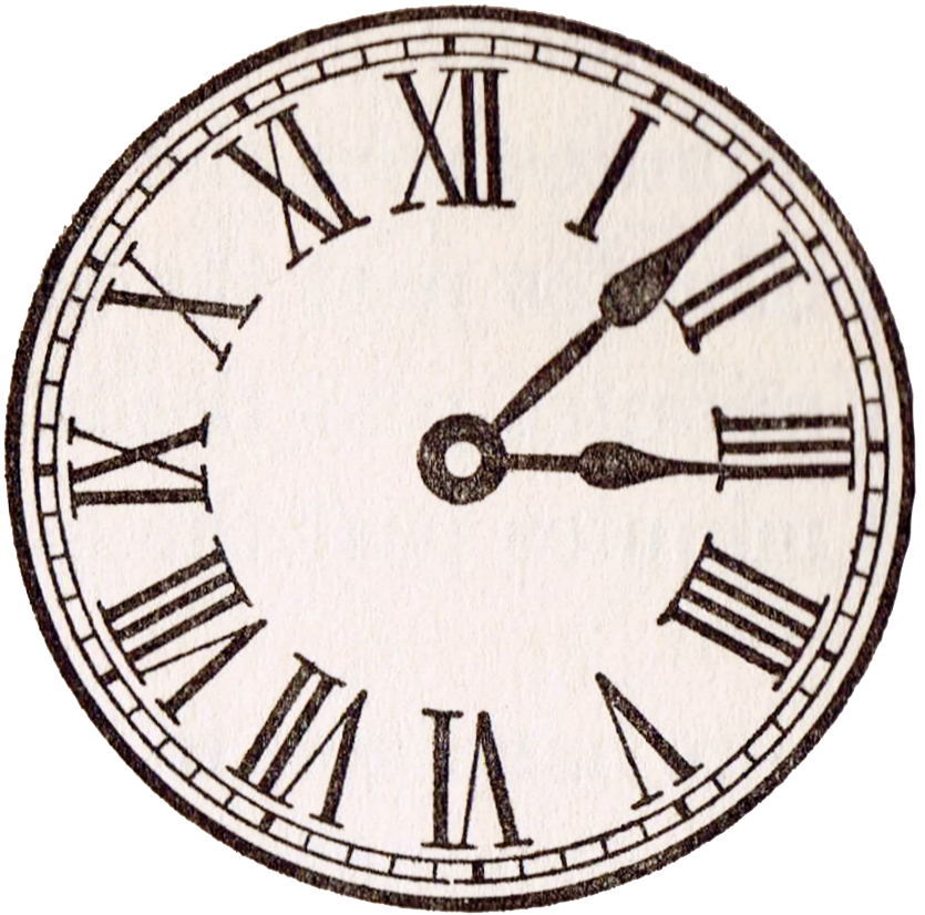 Antique Clock Face Graphics from School Book.