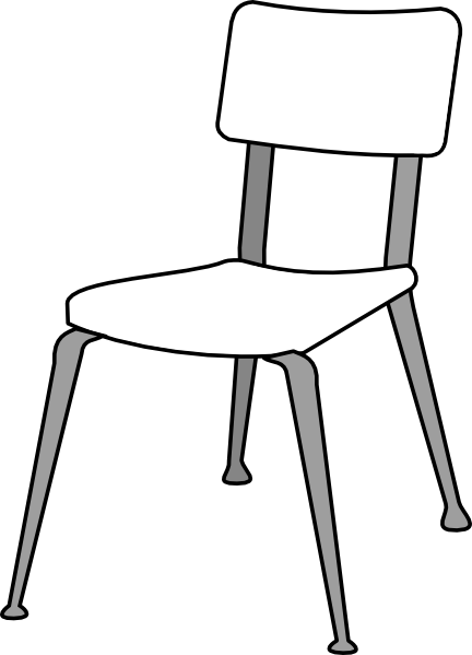 Black And White Student Sitting In Seat Clipart.