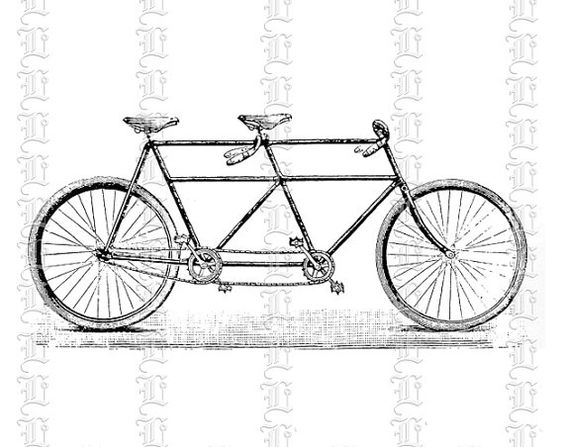 Retro Antique 2 Seat Person Bicycle Clip Art Illustrations HQ 300.