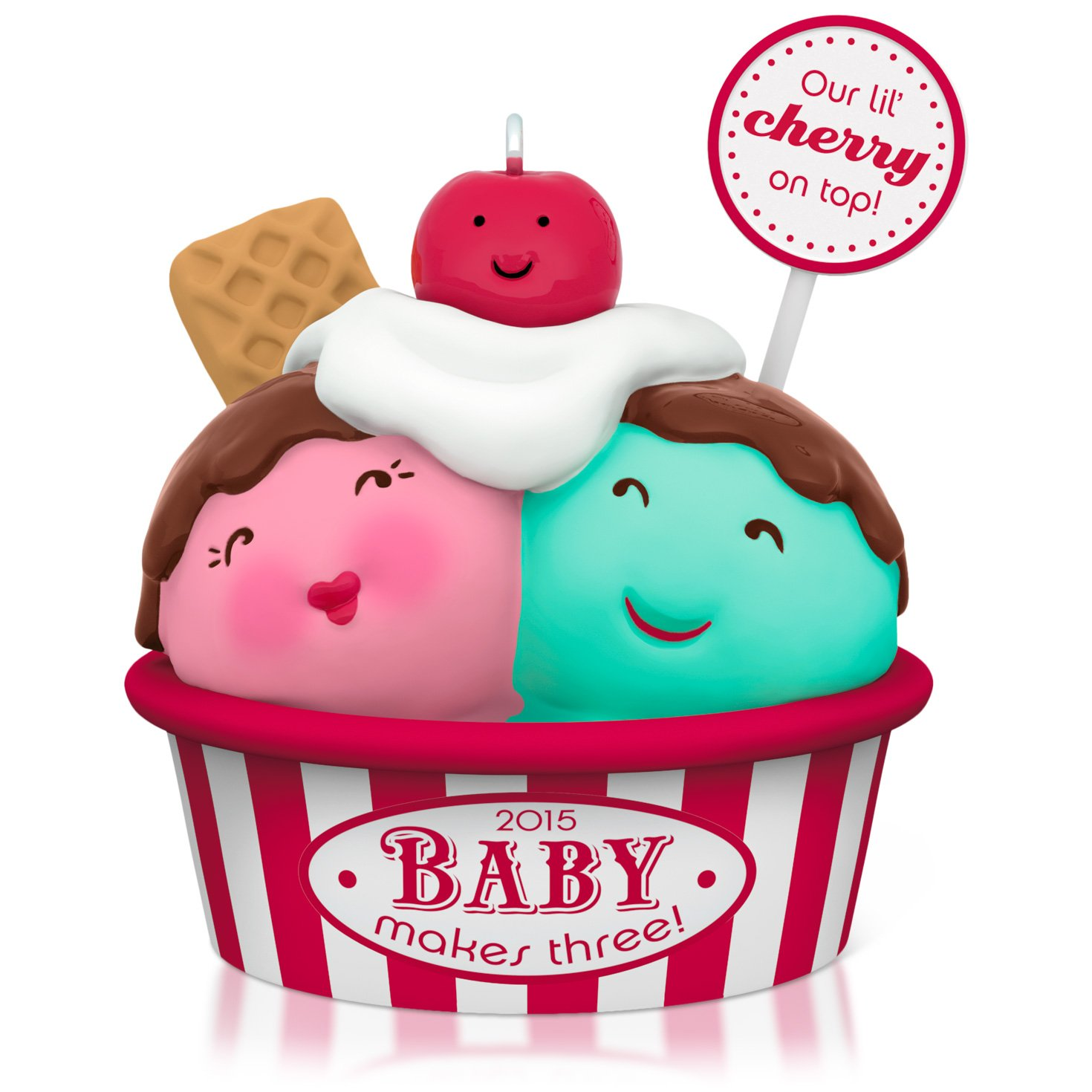 Details about Hallmark New Parents\' Baby Makes Three Ice Cream Ornament.