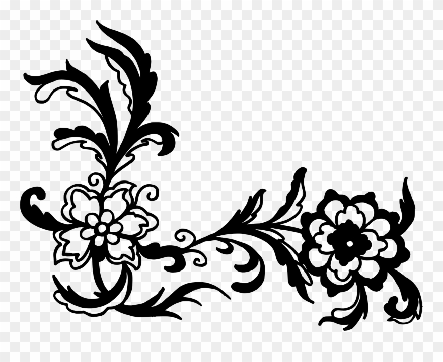 Black Vector Flower Png Clipart.