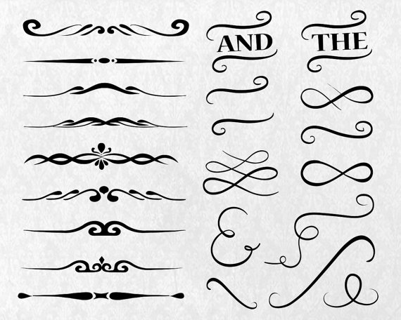 Divider Elements, Digital Clipart, EPS, PNG, Hand Drawn, Design.