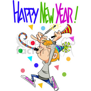 happy new year celebration vector cartoon art clipart. Royalty.