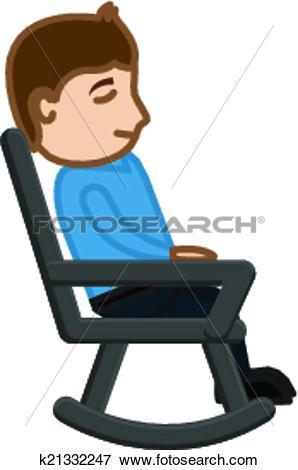 Clip Art of Man Having Rest on Swinging Chair k21332247.