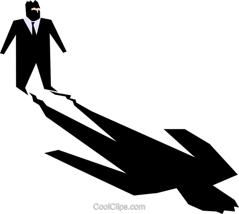 man and his shadow Royalty Free Vector Clip Art illustration.