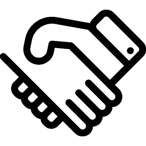 Shake Hands Flat Black Icon.