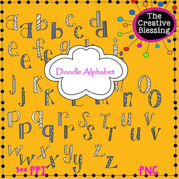 Doodle Alphabet 3 Clipart.