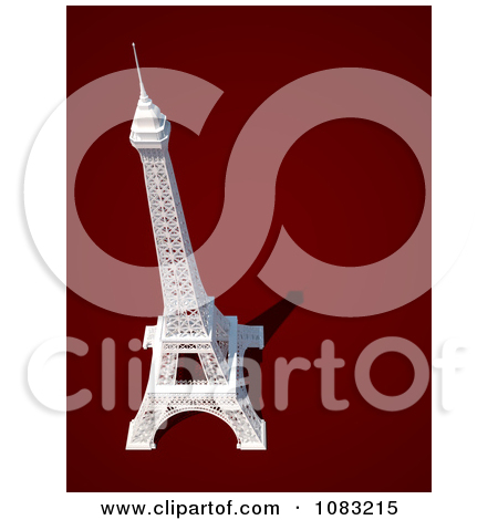 Clipart 3d Eiffel Tower Statue With Copyspace To The Right.