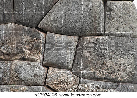 Stock Images of The stone wall of Sacsayhuaman, Cusco, Peru.