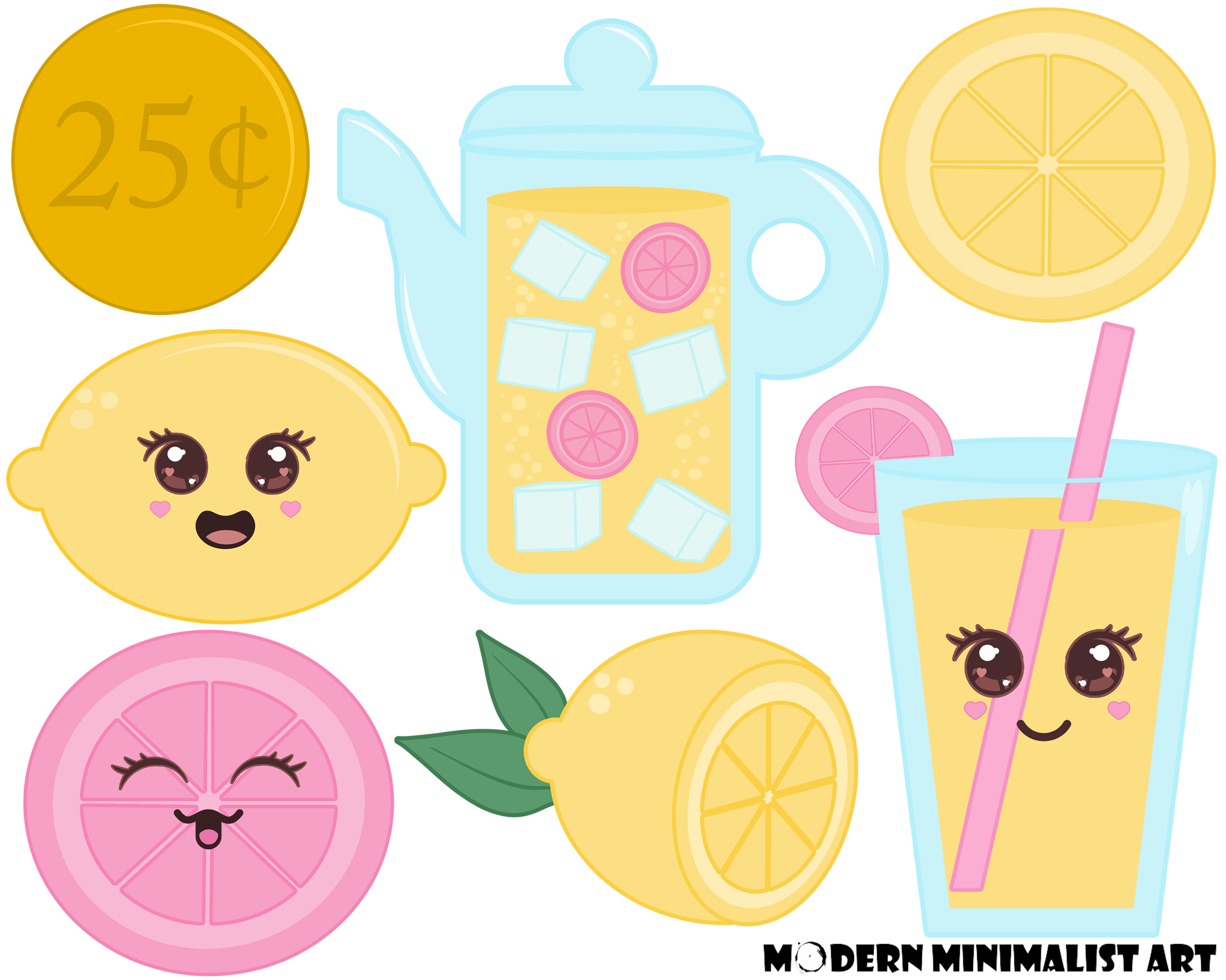 7 PNGS, Lemonade Clipart, Cute Lemonade, Kawaii Clipart, Cute.